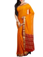 gold poly crepe mysore silk saree -  online shopping for Sarees