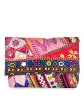 Multicoloured Embellished Fabric Handbag - By