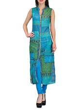 Blue And Green Cotton Printed Kurti - By