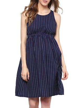 navy blue striped cotton dress -  online shopping for Dresses