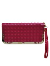 Pink PU Clutch With Casuals - By