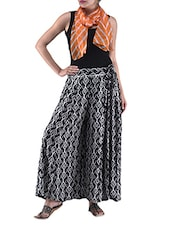 Black And White Rayon Printed Palazzo - By
