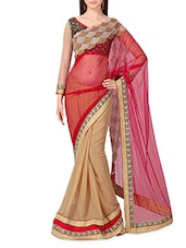 Red Net Georgette Embroidered Sari - By