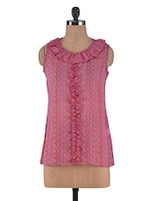 Pink Polygeorgette Printed Top - By