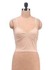 Beige Cotton Spandex Plain Zipper Top - By