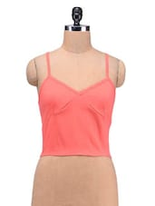 Pink Cotton Spandex Plain Zipper Top - By