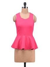 Pink Poly Spandex Knit Plain Stretchable Peplum Top - By