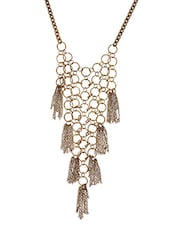 Golden Metalic Embellished Hollow Necklace - By