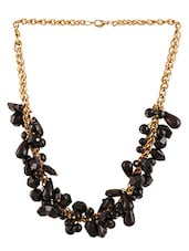 Black Metalic Beaded Drops Necklace - By