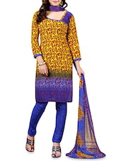 Yellow Printed Poly Cotton Chudidar Suit Piece - By