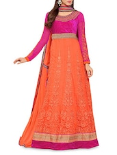 Orange Embroidered Semi Stitched Silk Anarkali Suit Piece - By