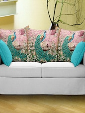 Bianca Set Of 3 Nature Love Peacock Print Cushion Covers - By