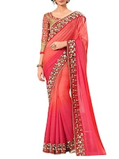 peach mirror work bordered plain saree -  online shopping for Sarees