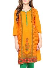 Orange Cotton Printed Straight Kurta - By