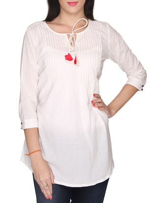 white cotton tunic -  online shopping for Tunics