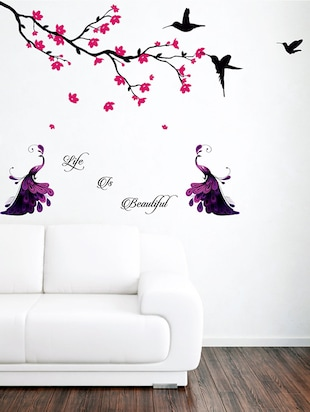 Black Tree Pink Branches - Vinyl Wall Stickers_M -  online shopping for Wall Decals & Stickers