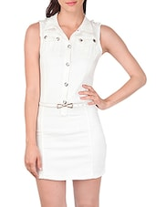 white cotton sheath dress -  online shopping for Dresses