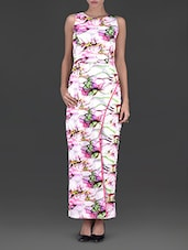Pink And White Lycra Printed Dress - By