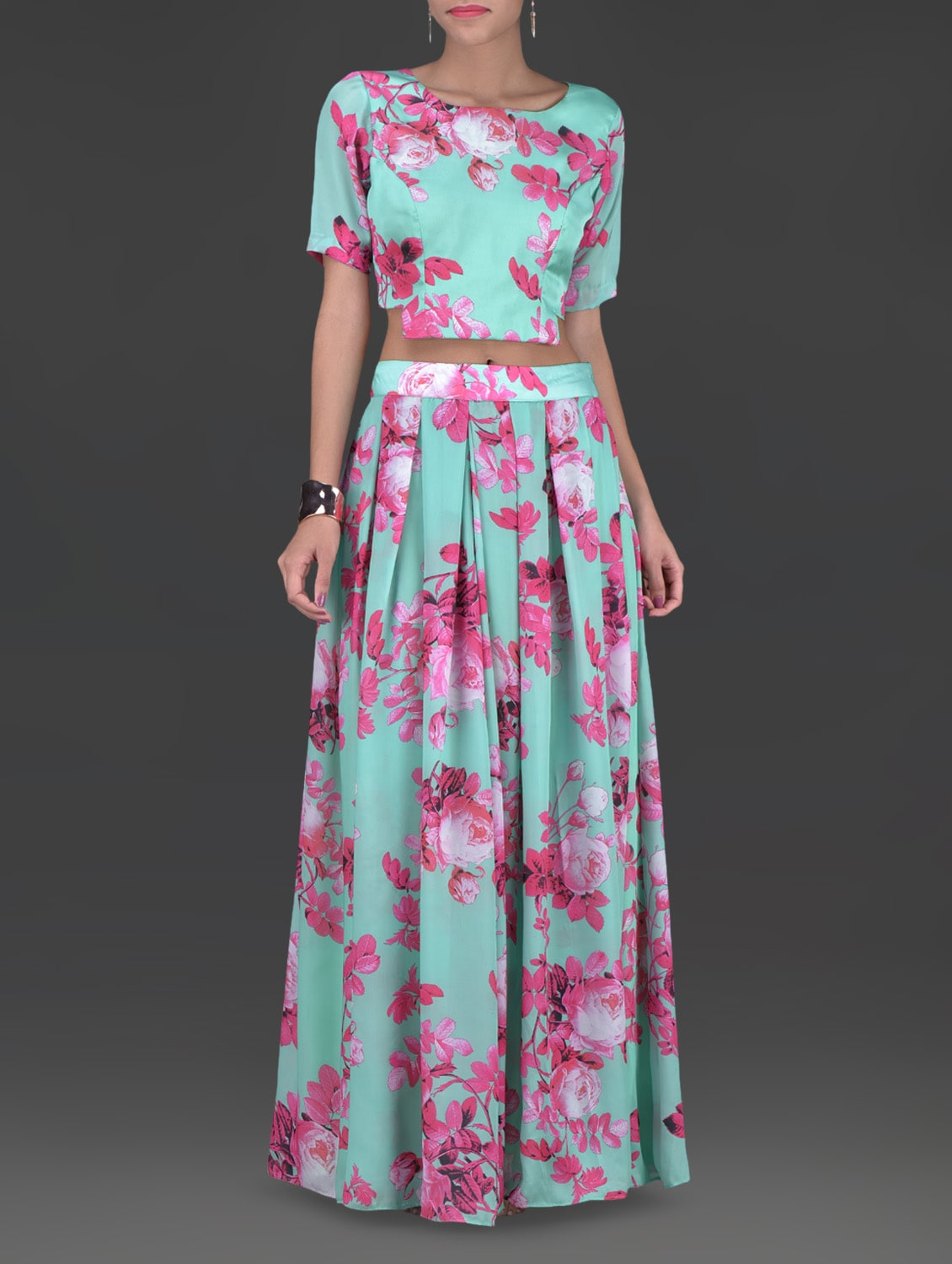 Green And Pink Polygeorgette Printed Top And Skirt Set - By