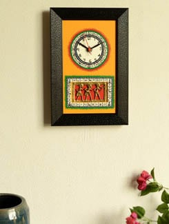Black and yellow dhokra work wall clock - ExclusiveLane