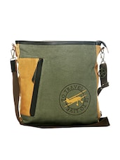 Green canvas printed sling bag -  online shopping for sling bags