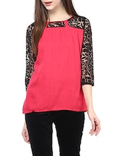 pink floral cotton regular top -  online shopping for Tops