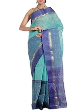 green cotton taanth saree -  online shopping for Sarees