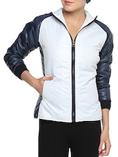 White Nylon Solid Long Sleeves Jacket - By - 1256736
