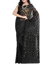 Black cotton blend jamdani saree -  online shopping for Sarees