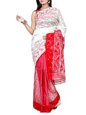 Red cotton blend jamdani saree -  online shopping for Sarees