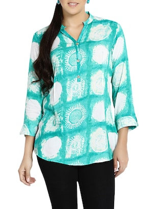 green rayon tunic -  online shopping for Tunics