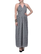 Grey Chiffon Printed Maxi Dress - By