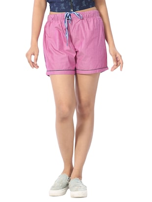 pink cotton regular shorts -  online shopping for Shorts
