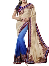 Blue And Beige Art Silk Jacquard Saree - By