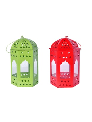 Decorate India Red Green Iron Lantern -  online shopping for Lanterns