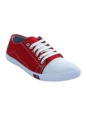 red canvas lace up sneakers -  online shopping for Sneakers