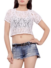 white floral cotton top -  online shopping for Tops
