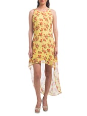 Yellow Polyester Floral Print High-low Dress - By