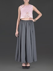 Rose Pink Crop Top With Grey Palazzos - By