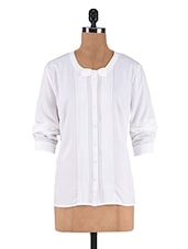 White Poly Crepe Pin Tuck Shirt - By