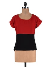 Black And Maroon Georgette Round Neck Top - By