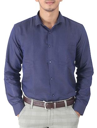 navy blue printed cotton formal shirt -  online shopping for formal shirts
