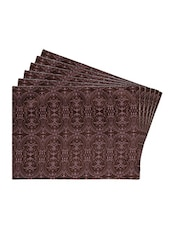 Brown Printed Reversible Placemats For Dining Table - Unique Designs Both Sides - Set Of 6 - By