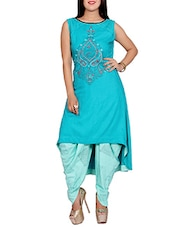 Skyblue rayon embroidered high-low kurta -  online shopping for kurtas