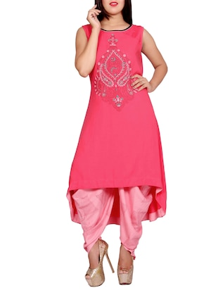 pink rayon embridered high-low kurta -  online shopping for kurtas