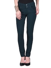 Green Cotton Spandex Trousers - By