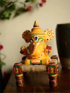 Handpainted Ganesha On Chowki - ExclusiveLane