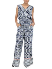 Blue And White Printed Viscose Jumpsuit - By