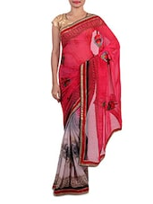 Pink And Grey Printed Faux Georgette Saree - By