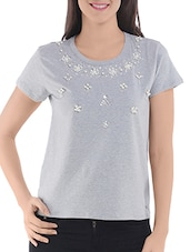 Grey Cotton Blend Solid Short Sleeved Top - By